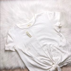 MADEWELL TIE FRONT CREW TOP SMALL